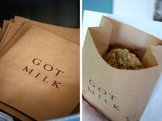 Brown paper bags with got milk on them as a party favor for guests to take cookies home with them
