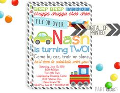 Planes, Trains & Automobile Birthday Party Invitation This invitation is available both as a digital (YOU print) file -or- printed and shipped by us.