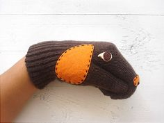 SALE!!! Christmas Gift, Dog Gloves, Puppet Dogs, Brown Gloves, Animals, Dogs, Special Gift, Xmas Gift, Holiday Gift, Dog Lovers, Fun Gloves, Unique