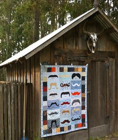 Great style shot of the Awesome Mustache Quilt, by Alethea Ballard; Quilting Designs, Quilting Ideas, Man Quilt, Old Barns, Easy Quilts, Quilt Making, Mustache, Sewing Tutorials, Peace And Love