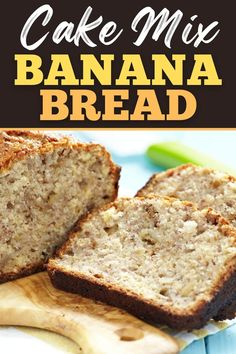 This cake mix banana bread recipe promises homemade banana bread goodness, but with very minimal effort. With just 5 ingredients, you'll have moist banana bread in no time! Cake Mix Banana Bread, Banana Walnut Bread, Homemade Banana Bread, Moist Banana Bread, Baked Banana, Banana Bread Recipes, Cake Recipes, Cooking Bananas, Dried Bananas