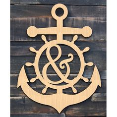 aMonogramArtUnlimited Anchor Wheel Wooden Decorative Sign, Door Hanger and Wall Décor Letter: L