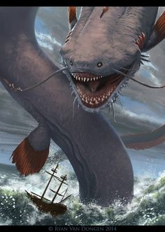 The Art of Ryan Van Dongen - Abyssal Leviathan Monster Concept Art, Monster Art, Monster Hunter, Creature Concept Art, Creature Design, Dark Fantasy Art, Fantasy Artwork, Magical Creatures, Sea Creatures
