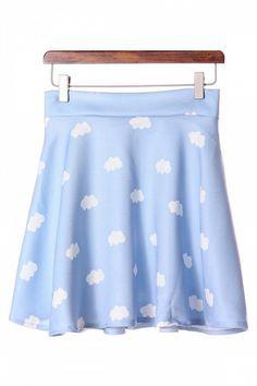 Sweet White Clouds Print Skater Skirt