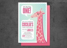 First Birthday Invitation Giraffe 15 by brightsideprints on Etsy, $28.35