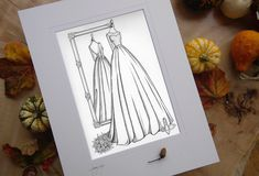 Autumn Weddings! After months of very few weddings some couples are waiting no more. I love capturing a bride's wedding day style in all it's fabulous detail. So much thought, planning, styling and effort, captured in ink forever. If you are looking for some wedding gift inspiration, why not consider giving the bride a wedding dress illustration. A memory of something that never changed in her wedding plans. www.weddingdressink.com/shop/mirror-view-sketch #covid19 #WeddingDressInk Wedding Bride, Fall Wedding, Wedding Gift Inspiration, Wedding Dress Illustrations, Autumn Weddings, Custom Mirrors, First Anniversary Gifts, Custom Wedding Dress, Custom Wrapping Paper