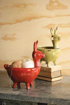 Ceramic deer planter.