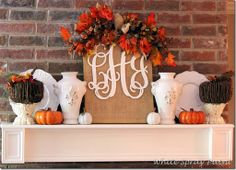 Fall Mantel - love the burlap sign Autumn Decorating, Porch Decorating, Decorating Ideas, Thanksgiving Decorations, Seasonal Decor, Thanksgiving Ideas, Fall Decorations, Holiday Ideas, White Spray Paint
