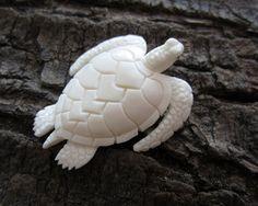 черепаха кость буйвола Amazing detail  Hand carved  Sea turtle  Cabochon   by cabcabana