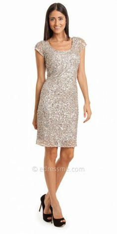This short cocktail dress by JS Collection is a shimmering choice for your next event, with its illusion cap sleeves and...Price - $275.00 - 6ZMp7sqJ