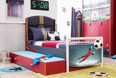 Win bonus points with this simple sporty bed that can also accommodate our pull-out unit.