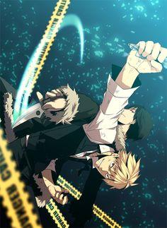 Izaya & Shizuo| Durarara!! #anime #manga  (Does Shizuo even know who's behind him?)
