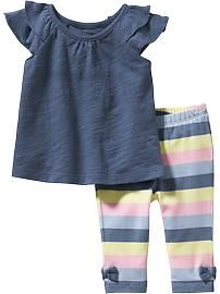 Old Navy Flutter-Sleeve Top & Striped Leggings Sets for Baby Baby Girl Shoes, Baby Girl Dresses, Baby Dress, Little Girl Fashion, Toddler Fashion, Kids Fashion, Little Girl Outfits, Toddler Outfits, Kids Outfits