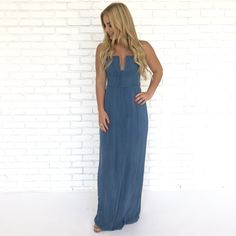 546e4641371 Cassie Maxi Dress in Blue - Dainty Hooligan Boutique Cassie