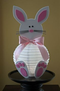 What a great idea--Make a bunny out of a lantern for under $5.00. You could fill up the lantern with candy, if you don't put a light inside. Isn't this a cute treat holder?