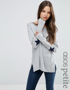 Image 1 ofASOS PETITE Jumper with Navy Star Elbow Patch