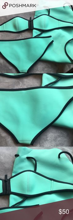 TRIANGL SWIM SET- WINNIE MIAMI MINT I love this set but I have gained weight and it mo longer fits me. The bag has stains but it still works! And the bottoms on the but have the tiniest indent. I believe I purchased a small or Xs but can't remember. Triangl sizing is really close together! Fit me when I wore a size 0 pants and about a 32B bra size ! 💕💕 MAKE ME DECENT OFFERS💕💕 ps it's 89 on website plus 20 USD shipping so I paid 110$ basically triangl swimwear Swim Bikinis