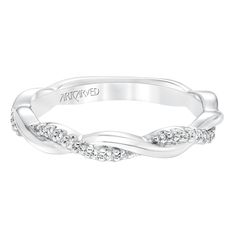 Marnie By ArtCarved Diamond Twisted Wedding Band to Match 31-V659 #engagement #love #wedding