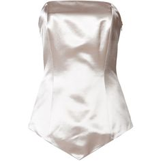Maison Margiela Satin Bustier ($170) ❤ liked on Polyvore featuring intimates, tops, lingerie, underwear, bodysuit, bustiers, silver, bodysuit lingerie, satin bustier and satin body suit
