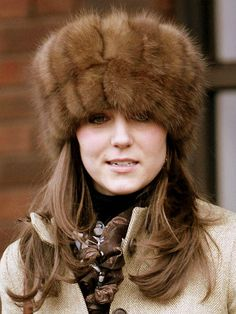 Prince William's girlfriend, Kate Middleton wears a Russian style fur hat to the final day of Cheltenham Races on March 17, 2006 in Cheltenham, England.