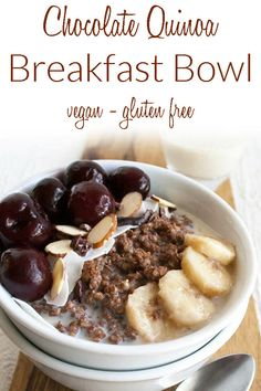 Chocolate Quinoa Breakfast Bowl (vegan, gluten free) - This healthy breakfast has cherries, almonds, banana, and coconut to get you off to a great start! #breakfastbowl #vegan #quinoa #healthybreakfast