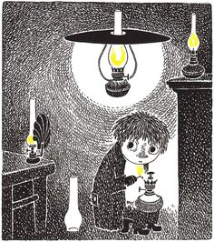 In her Moomin books Tove Jansson combined extremely skillfully pictures and the story. Both loneliness and fear are perfectly illustrated in these. Moomin Books, John Kenn, Tove Jansson, Vintage Children's Books, Vintage Kids, Louise Bourgeois, Children's Book Illustration, Anime Manga, Collages