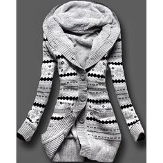 $24.99 Stylish Hooded Long Sleeve Geometric Single-Breasted Women's Cardigan