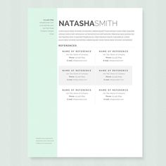 This resume template will be sure to get you noticed! The package includes a resume sample and cover letter example in a mint green theme. Easily change fonts, colours and layout to suit Cover Letter Template, Letter Templates, Computer Font, It Pdf, Page Setup, Cover Letter Example, Green Theme, Free Fonts Download, Creative Resume Templates
