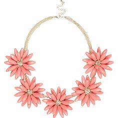 RIVER ISLAND CORAL 3D FLOWER SHORT STATEMENT NECKLACE