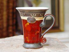 Pottery Coffee Mug Red Ceramic Tea Mug Unique by DankoHandmade
