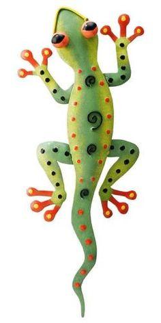 Tropical Gecko Lizard Wall Decor Metal Hand Painted | eBay