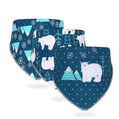 Baby Bib Cotton Breathable Bandana For Children Cartoon Baby Apron For Feeding Hydrophilic Cloth Towel Boy, Bear Print, Baby Outfits Newborn, My Collection, Baby Prints, Burp Cloths, Baby Bibs, Baby Accessories, Polar Bear