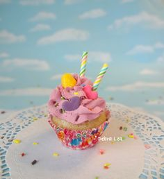 Fake Cupcake Faux Cupcake Handmade Pink Pastel Candyland Christmas Gumdrop Candy - Imagine Out Loud