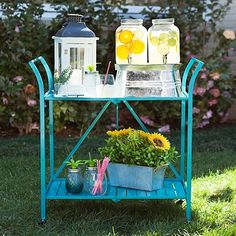 Retro Turquoise Bar Cart