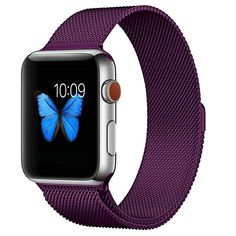Stainless Steel Milanese Mesh Band Strap with Magnetic Closure for Apple Watch - On Sale - Overstock - 29552437 - Purple - 38/40mm Apple Watch Series 1, Apple Watch Bands, Apple Watch Price, Best Smart Watches, Android Watch, Mesh Band, Expensive Watches, Wearable Technology, Beautiful Watches