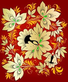 Folk Khokhloma painting from Russia. Pattern with leaves and two flowers. #art #folk #painting #Russian