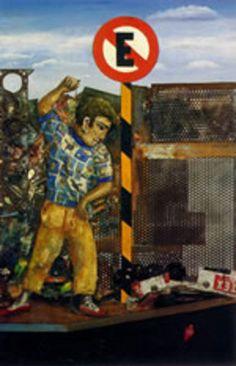 Juanito jugando con el trompo, 1973: Collage sobre madera 160,5 x 105,9 cm Colección particular.