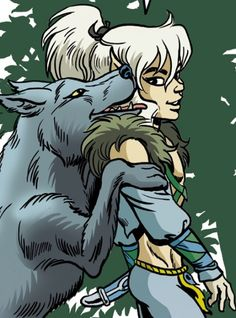 Cutter and his new wolf Loper from #Elfquest Final Quest by #DarkHorseComics. www.elfquest.com