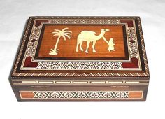 Vintage Handcrafted Wood Middle Eastern Inlaid Hinged Box Trinket Jewelry Decor