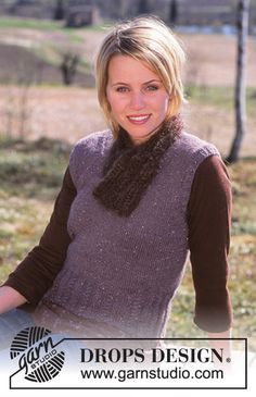 DROPS Sleeveless jumper with cable pattern in Alpaca and Glitter and scarf in Vienna Knitting Patterns Free, Knit Patterns, Free Knitting, Free Pattern, Magazine Drops, Sleeveless Jumper, Drops Design, Bind Off, Stockinette