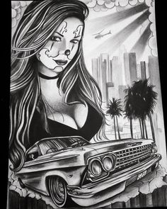 No photo description available. Chicano Tattoos Gangsters, Lettrage Chicano, Chicano Style Tattoo, Gangster Tattoos, Lowrider Drawings, Lowrider Tattoo, Arte Lowrider, Chicano Drawings, Arte Cholo