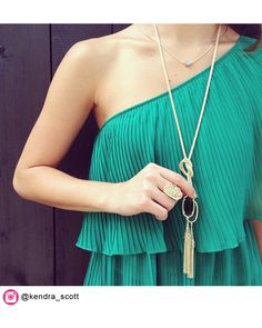 Megan Long Necklace in Emerald Green - Kendra Scott Jewelry. Available October Lace Bridesmaid Dresses, Wedding Bridesmaids, Natural Accessories, Emerald Green, Emerald City, First Girl, Kendra Scott Jewelry, Lariat Necklace, My Style