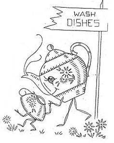 Hand Embroidery Pattern 237 Animated Anthromorphic Kitchen Motifs for Linens 50s | eBay