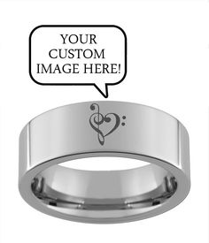 Classic Personalized Laser Engraving Ring in Tungsten Carbide