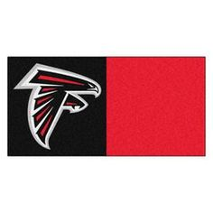 Fanmats 20-Pack 18-In X 18-In Falcons Black/Red Indoor Cut Pile Peel-A