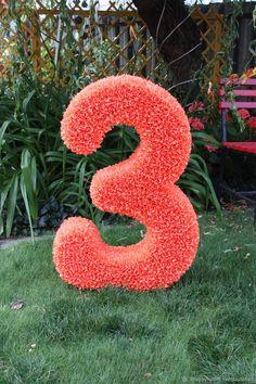 Купить Объемная цифра 3 на День Рождения - рыжий, цифра, объемная цифра, цифра3