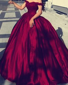 Satin Off The Shoulder Ball Gowns Wedding Dresses Lace Appliques – alinanova Maroon Prom Dress, Split Prom Dresses, Colored Wedding Gowns, Wedding Dress Styles, Burgundy Gown, Dresses Near Me, Long Sleeve Evening Dresses, Quinceanera Dresses, Ball Gowns