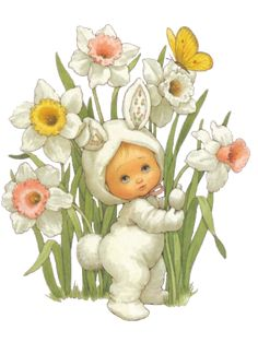 Sandra @ ribbonsandfavors.com Image. Vintage baby in bunny suite. Artist Ruth Morehead.