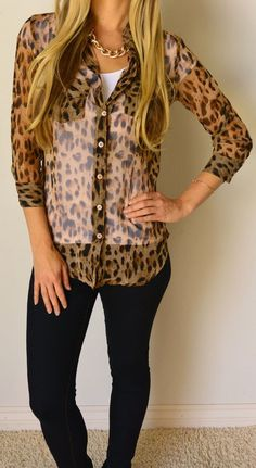 Leopard Design Shirt With Jeans