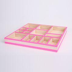 pink tape on organiser